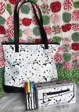 Doodlz Christmas Bag Wallet Set Color Your Own Tote & Wallet Penguin Markers