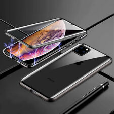For iPhone 11 Pro Max 360° Full Cover Magnetic Adsorption Clear Glass+Metal Case
