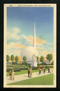 World's Fair postcard New York 1939 NY linen Curt Teich 54W Trylon Perisphere
