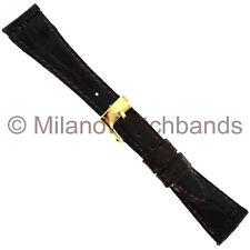 12mm Band-It Ladies Brown Genuine Crocodile Tapered Stitched Short Watch Band