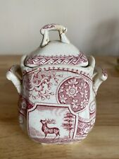 Antique Small Red Transfer Ware Jar with elk