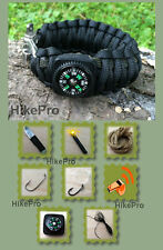 DELUXE 550 Paracord Survival Bracelet BAND Fire Starter Knife Fish Hooks Compass