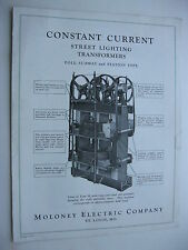 1930's MOLONEY ELECTRIC, CONSTANT CURRENT STREET LIGHTING TRANSFORMERS BROCHURE
