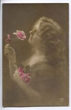 (M91) Girl of Glamour with Flowers  - Postally Unused