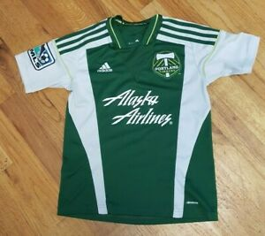 Portland Timbers Adidas Youth Small Green Jersey MLS Alaska Airlines Soccer