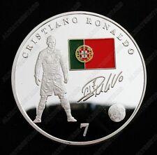 C Ronaldo World Cup Football Sport Silver Commemorative Coin Fans Collectible