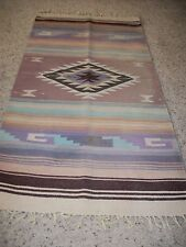 Oaxaca Mexican hand made rug blanket heavy woven wool 70's or 80's vintage