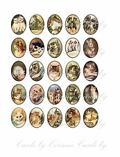 Oval cat 25 labels stickers scrap booking glossy laminated adhesive paper