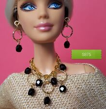 S875 Silkstone Barbie Fashion Royalty Doll Jewelry black & Gold