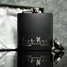 Groomsman, Usher, Best Man Gift Black Hip Flask With optional Gift Box OMG4-HIPB
