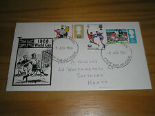 """1966 GB Stamps """" WORLD CUP """" Set On """"Goal"""" Illustrated FDC -  PORTSMOUTH Cancel"""