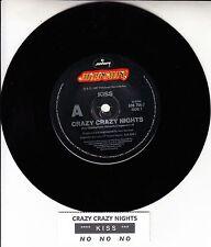 "KISS Crazy Crazy Nights 7"" 45 rpm vinyl record + juke box title strip"