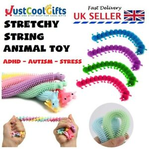 STRETCHY TANGLE WORM ADHD FIDGET TOY UNICORN STRING CENTIPEDE AUTISM NOODLE UK