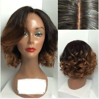 Ombre Human Hair Short Wavy Full Lace Wigs 13X6 Lace Front Wave Wigs 1BT#30A