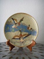 """Vintage DUCKS in Water Brass Wall Hanging Plate Etched and Painted Mallard 7¾"""""""