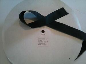 "2 Yards Black Hat Ribbon Nylon 1"" Grosgrain  Made USA NOS Western Cowboy Vtg"