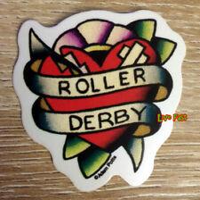 ROLLER DERBY DECAL STICKER HEART BANNER skating retro vintage tattoo flash art