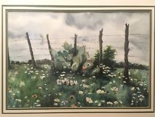 31 x 24.5 Glass Framed K. Wood Original Watercolor Texas Wild Cactus On Fence