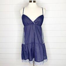 Eloise Anthro Nightie Slip Dress Blue Lace Trim V-Neck Spaghetti Straps M Medium