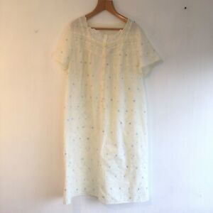 M&S Embroidered Night Dress UK 12/14  Pale Yellow Blue Evening Bed Hospital