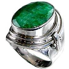 GENUINE GREEN EMERALD_HAND TOOLED RING_SZ-8__925 STERLING SILVER-NF