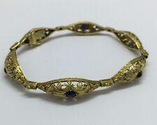"Antique 18k Yellow Gold Cabochon Sapphire Filigree Bracelet 7.5"" EUC 16.2 Grams"