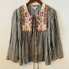 Francescas Miami Tribal Print Open Front Top Size Small Long Sleeves Tassels B4