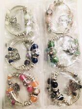 Wholesale 12 Pcs Mix Color Rhinestone Love Heart Charm Beads Bracelet Bangle Set