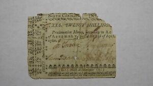 1761 Twenty Shillings North Carolina NC Colonial Currency Note Bill! 20s! RARE