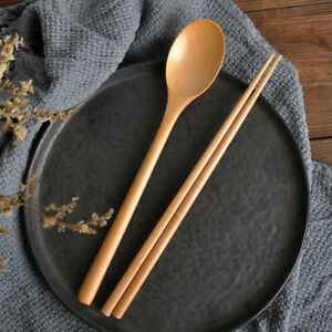 Wooden spoon Chopsticks Set Korean Wood Soup For Eating Mixing Strring Handle