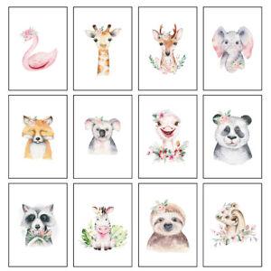 Nursery Prints Kids Boys Girls Cute Baby Animal Bedroom Wall Art - Unframed