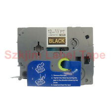TZ-334 Gold on Black Label Tape 12mm 8m Compatible for Brother P-touch TZe-334