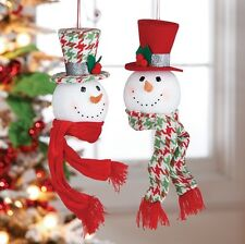 "Raz~8"" Holly & Houndstooth Snowman Head Top Hat Christmas Ornament~Set 2~Tree"
