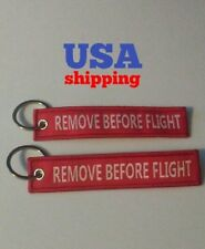 2pcs Remove Before Flight Keychain Luggage Tag Zipper Woven Red Travel