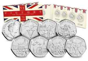 2020 Isle of Man 7 50p Coin Set & Folder - VICTORY End of WW2 75th Anniversary