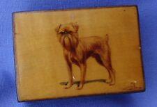 ANTIQUE HAND PAINTED BRUSSELS GRIFFON  DOG MAUCHLINE WEAR MATCH BOX HOLDER