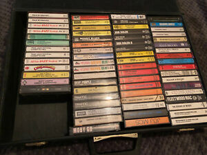 Job lot Cassette Tapes + Suitcase Rock Metal Jazz 70s 80s van halen led zeppelin