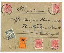 DD214 1912 NETHERLANDS HOLLAND Registered Franking Germany {samwells-covers}
