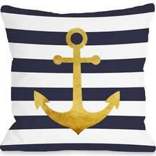 One Bella Casa 74975Pl18 18 x 18 in. Nautical Stripes Anchor Pillow - Navy