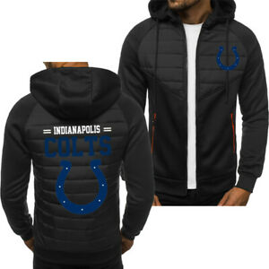 Indianapolis Colts Fans Hoodie Sporty Jacket Zip up Coat Autumn Sweater Tops
