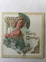 Antique Victorian Christmas Card Raphael Tuck DieCut Embossed Petticoat Lady