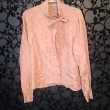 ASOS Peach Skull Jacquard Button Down Bow Blouse Shirt, Size 14