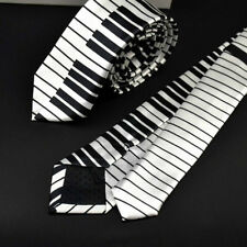Men's Black & White Piano Keyboard Necktie Classic Slim Skinny Music Tie Unique