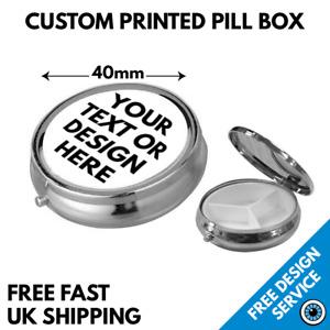 Custom Printed Metal Pill Box • Personalised Metal Tablet Storage •  Round Tin