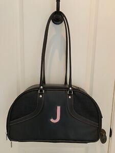 Petote Bali Couture Dog Pet Tote Bag Carrier Purse Black Leather Pink 'J' — EUC