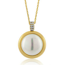 """Gorgeous 15mm Button Shell Pearl Necklace w/ Gold Tone 15"""" Chain + 1"""" Extender"""