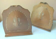 Antique Craftsman Studios Hammered COPPER BOOKENDS Los Angeles ABSTRACT Design