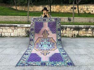 OLD TURKISH VINTAGE HANDMADE TRIBAL BOHO STYLE WOOL AREA RUG ANTIQUE RUNNER RUG