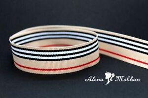 "5 yards 7/8"" Luxury Beige Black White Red Stripes Woven Grosgrain Ribbon"