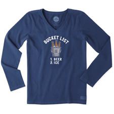 Life is Good Women's Long Sleeve Crusher Vee Bucket List on Darkest Blue-2XL